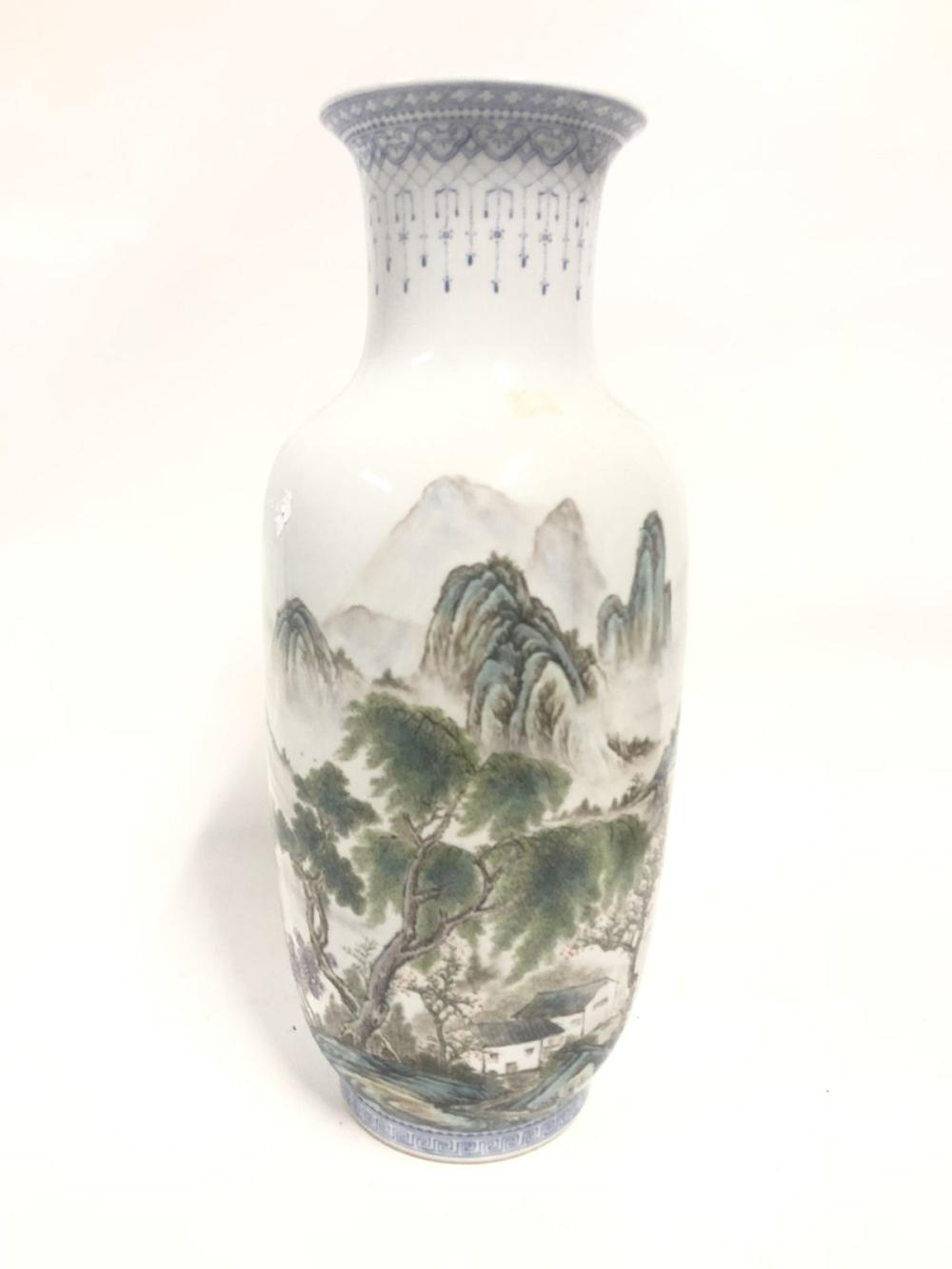 A Baiching Mountainous Chinese Vase ( H 41cm)
