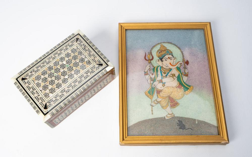 A Mother of Pearl and Ivory Inlaid Jewellery Box Together with A Gemstone hand Painting