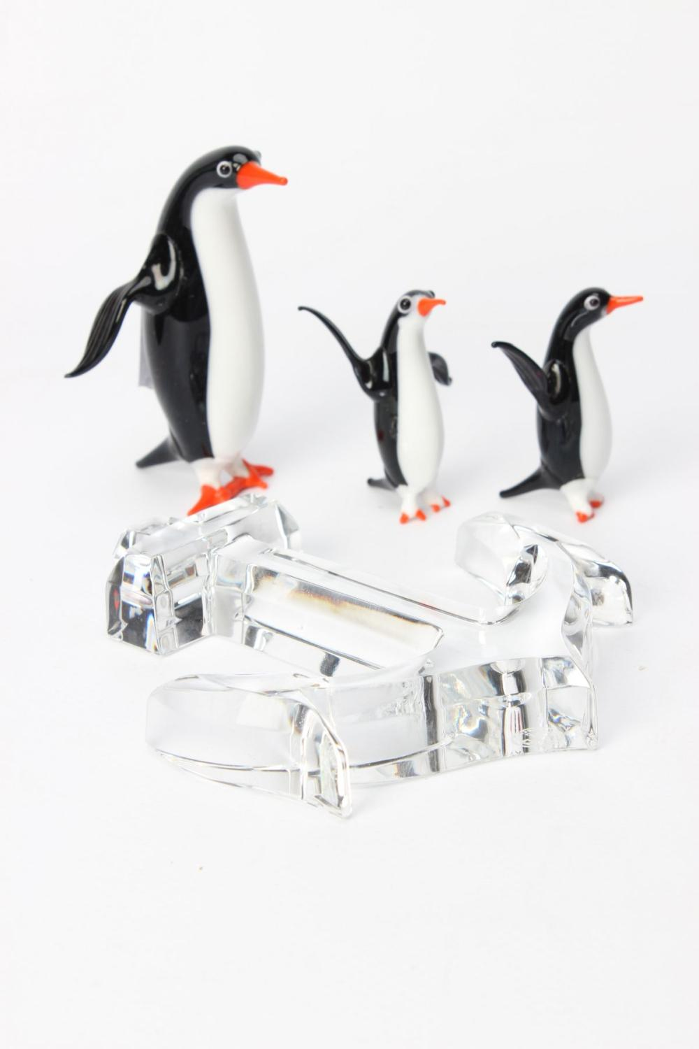 A Small Baccarat Crystal Anchor in Box Together with An Orrefors Bowl and Coloured Glass Penguins
