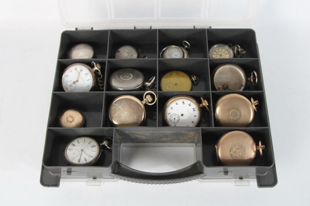 Assorted Pocket Watches, Cases and Parts