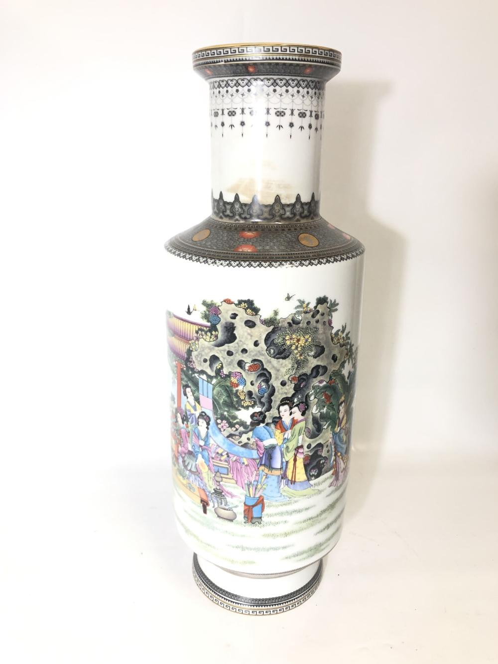 Bangchai Large Vase Featuring Ladies Among Trees H:60cm