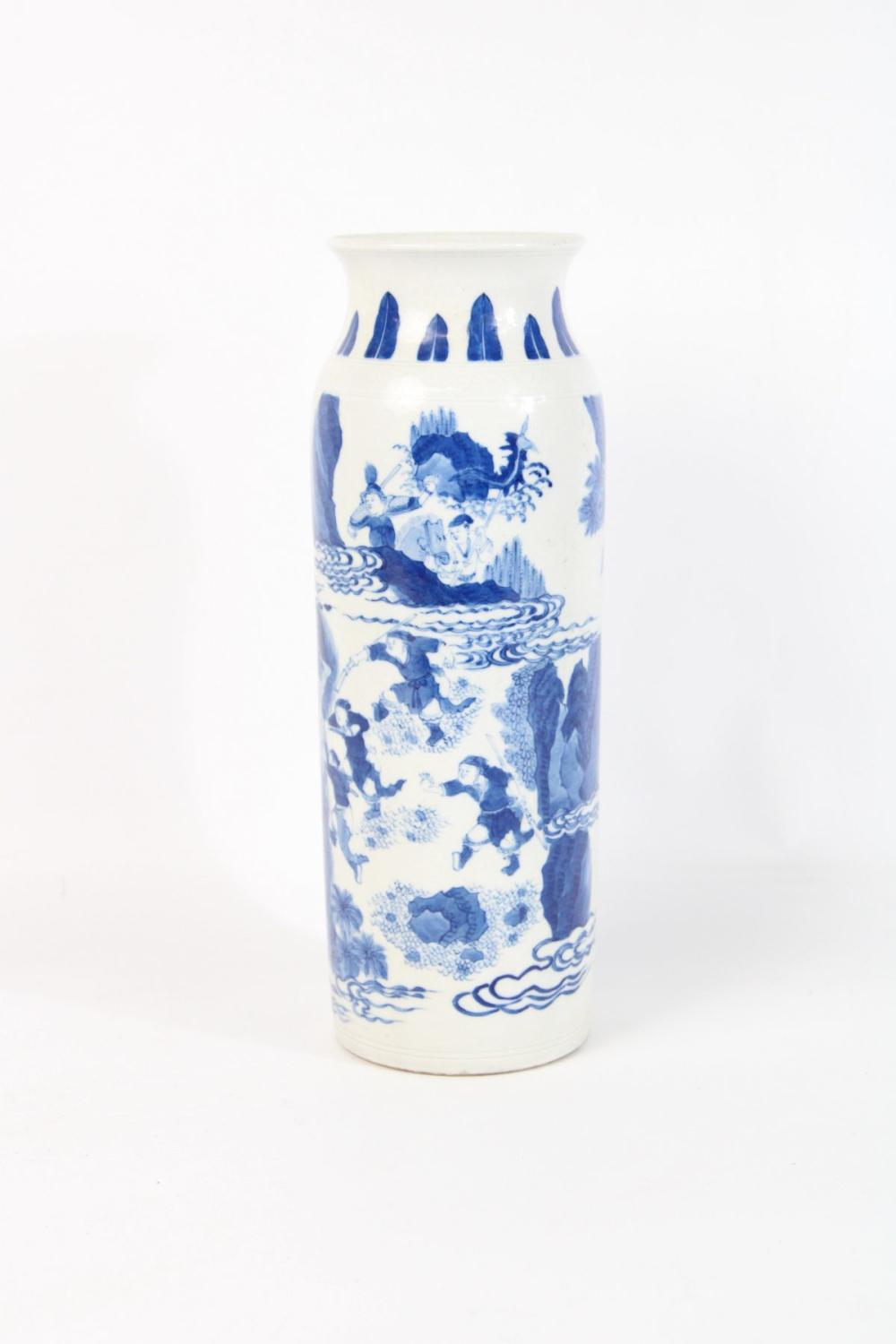 Lot 50: Blue And White Qing Style Vase H:28cm
