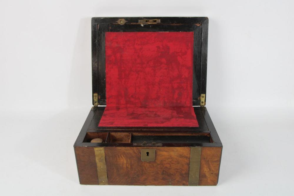Brass Bound Mahogany Writing Box 15cm x 30cm x 23cm