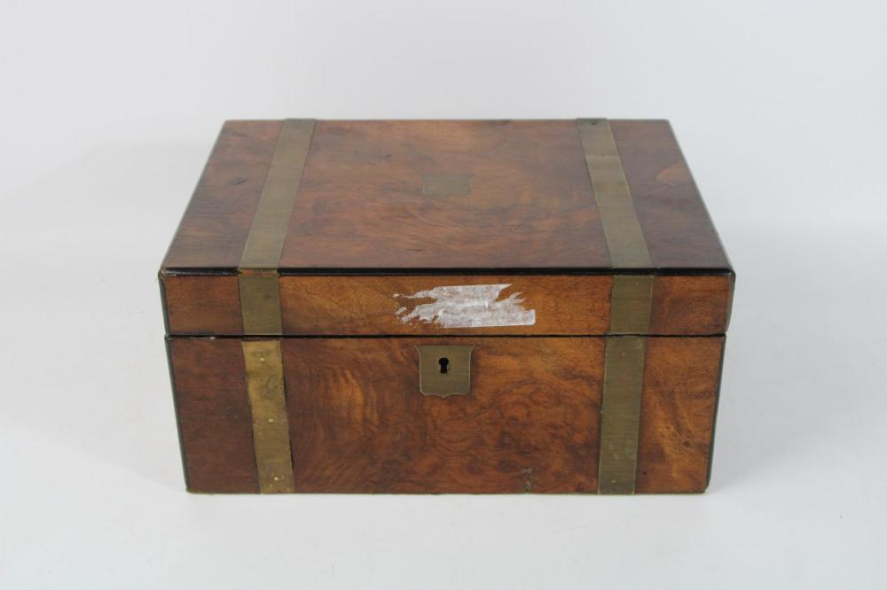 Lot 57: Brass Bound Mahogany Writing Box 15cm x 30cm x 23cm