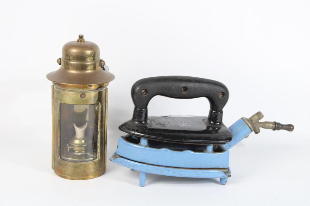 Brass Oil Lamp And Steam Iron By John Wright Company Flow 375