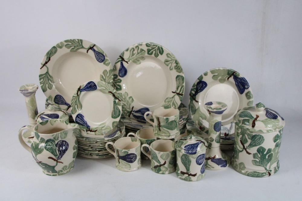Bridgewater Spongeware Part Dinner/Tea Service inc Cannisters
