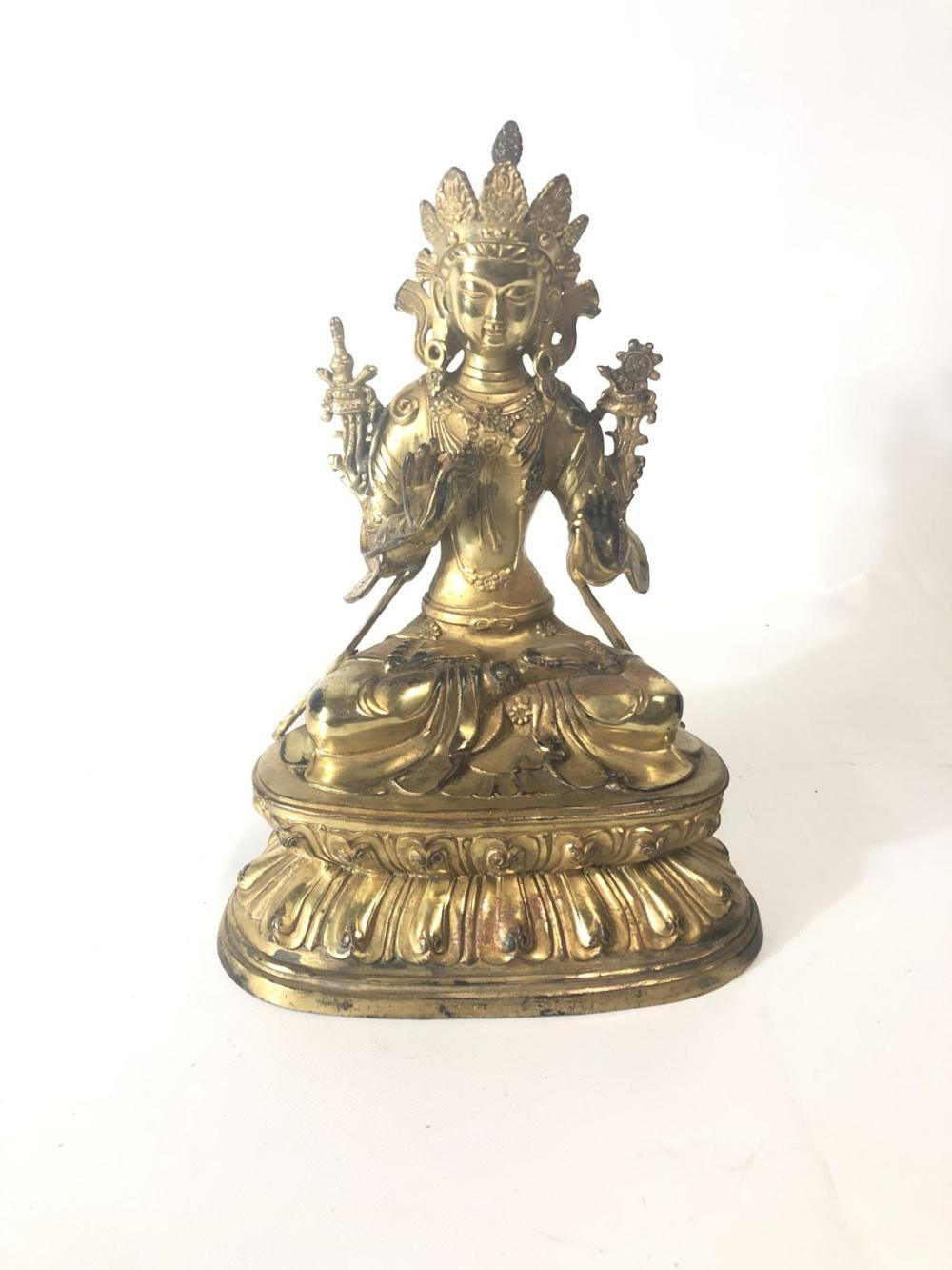 Bronze Bodhisattva On Double Lotus Base H:28cm