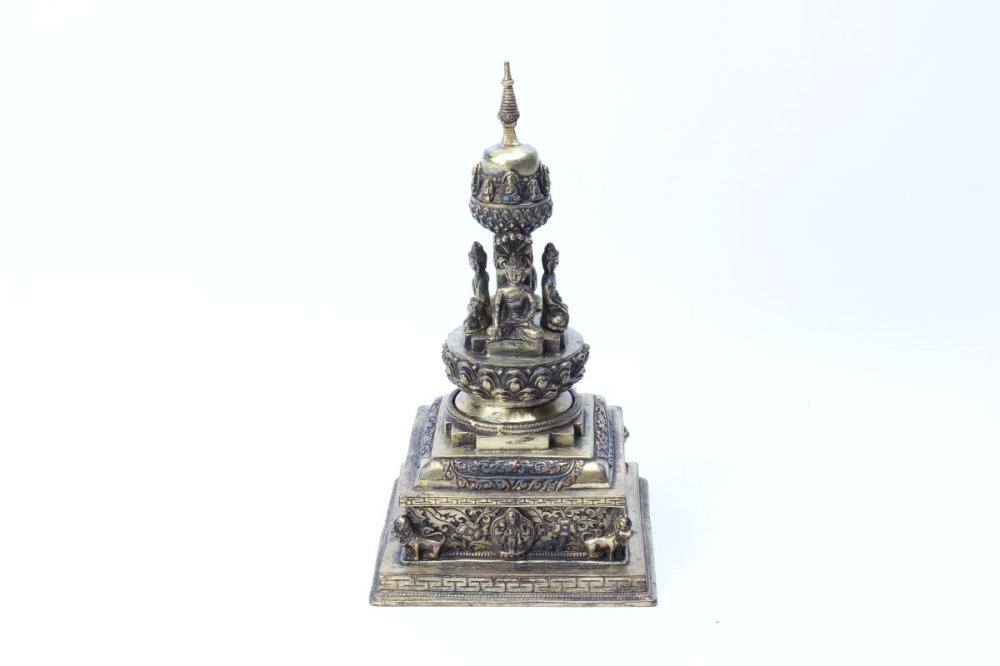 Bronze Buddha Decorated Censer H:26cm