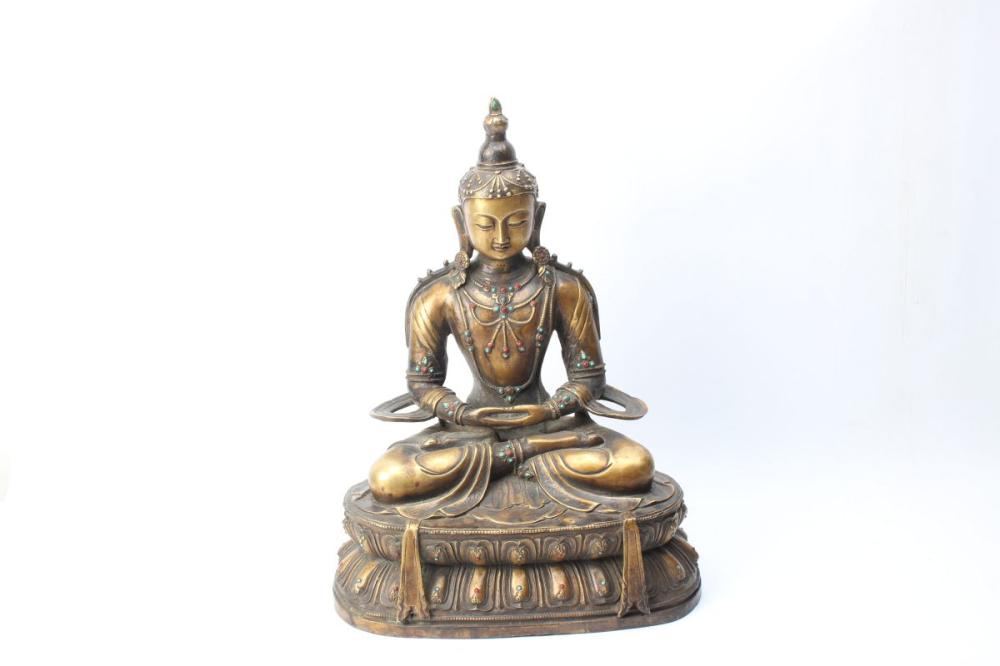 Bronze Chinese Buddha On Lotus Base H: 50cm