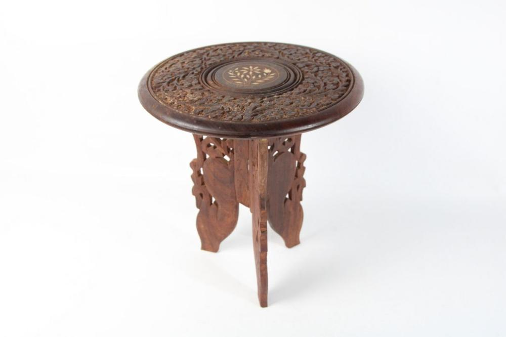 Carved Anglo Indian Side Table With Inlay