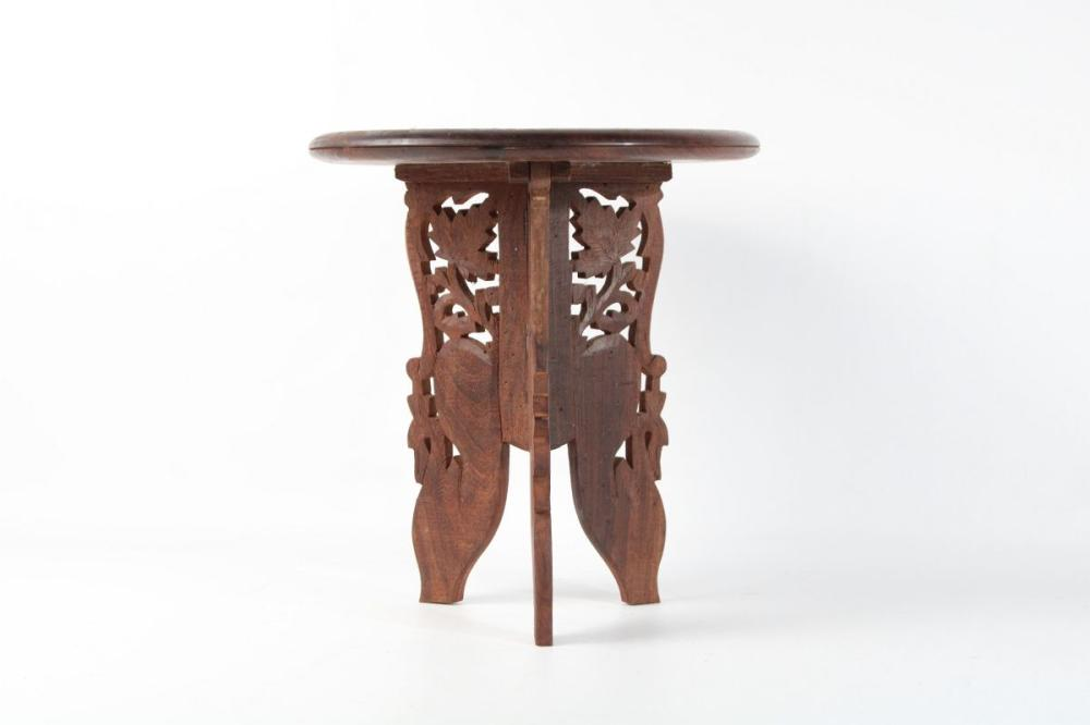Lot 74: Carved Anglo Indian Side Table With Inlay