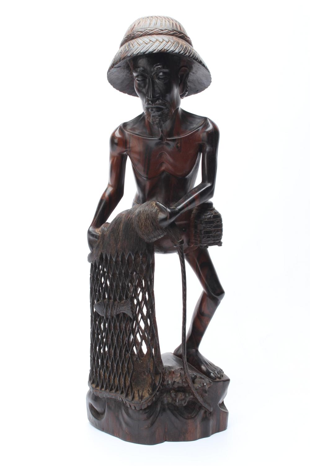 Carved Timber Figure of A Fisherman ( H 52cm)