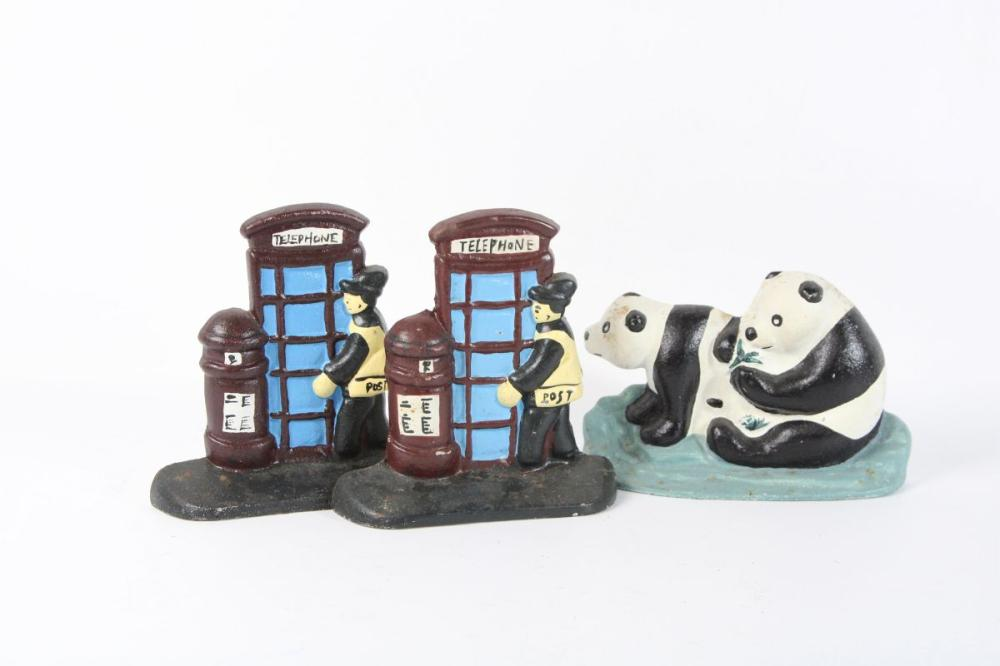 Cast Iron Panda Doorstop Together With Two Telephone Booth Examples