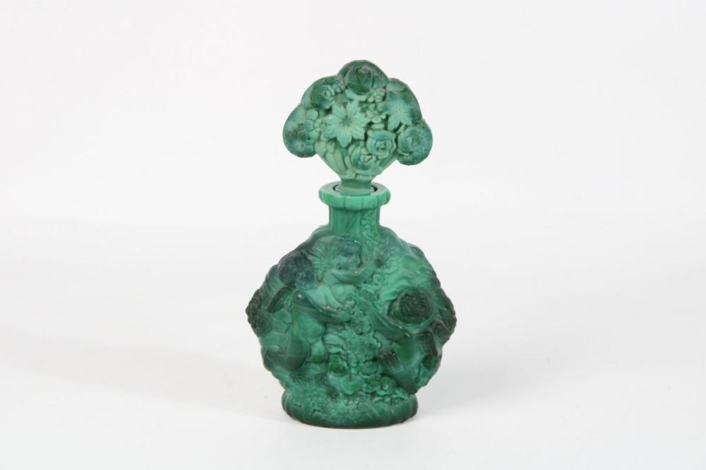 Cherubic Themed Green Glass Perfume Bottle ( H 17cm)