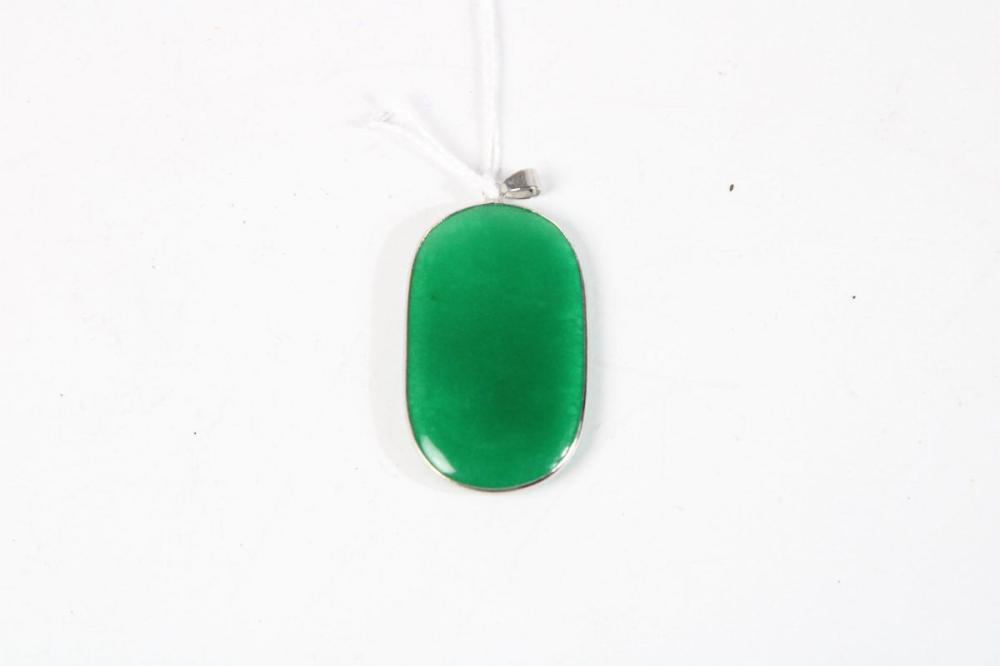 Chinese Oval Shaped Green Pendant H:5cm