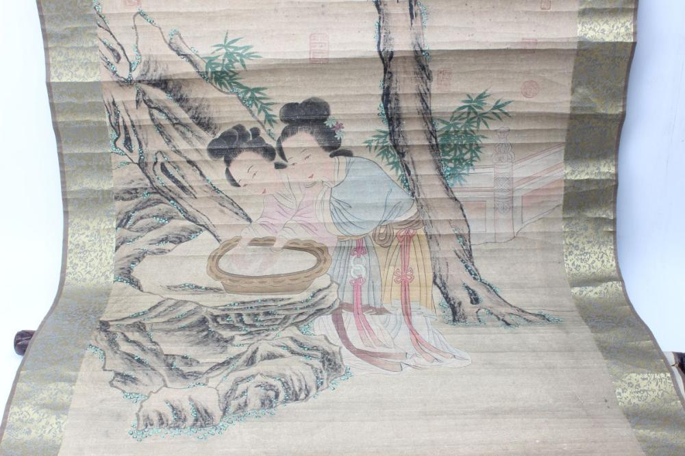Lot 108: Chinese Scroll Depicting Ladies