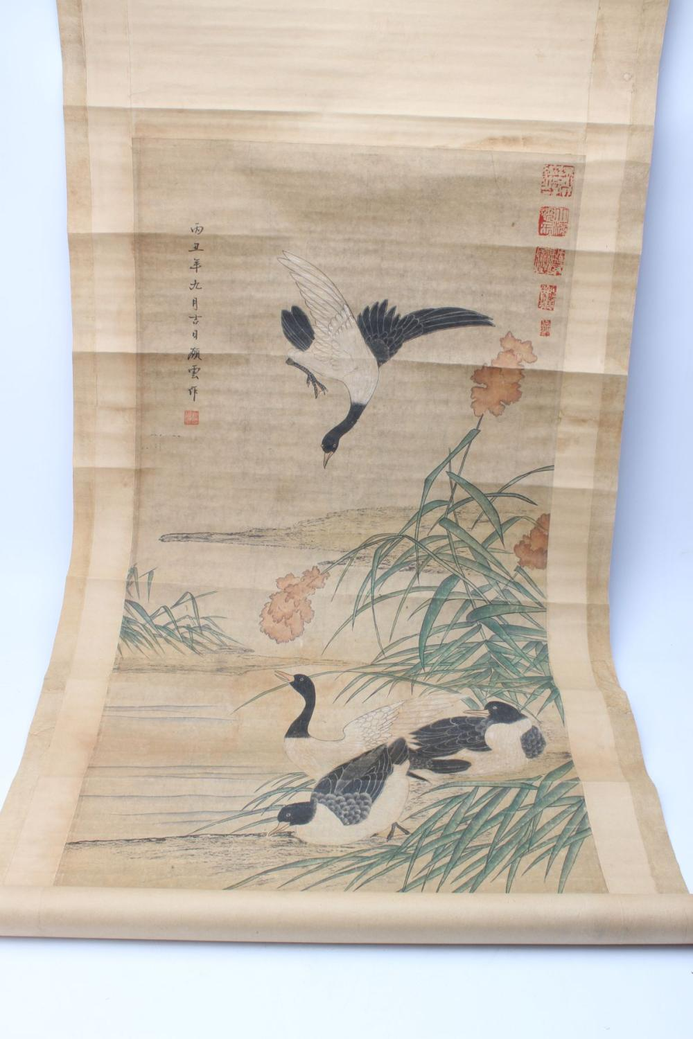 Chinese Scroll Featuring Waterbirds