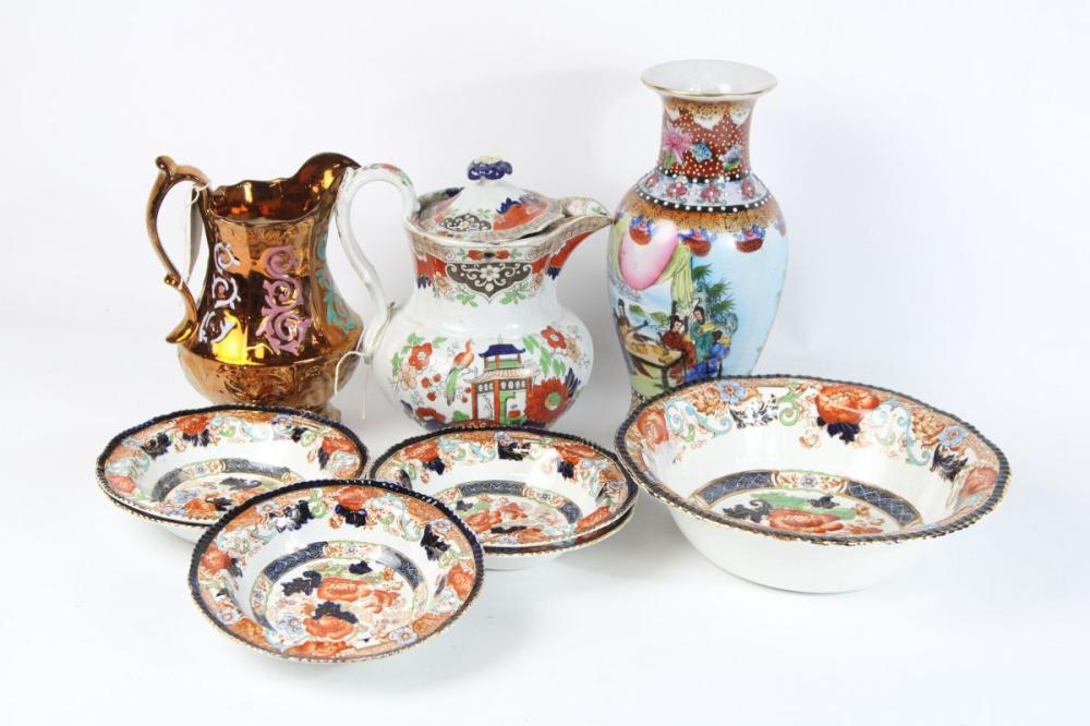 Collection Of Ceramics Incl Lustre Jug, Teapot, Vase And Royal Verona Bowls