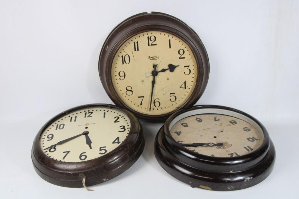 Collection of Early Electric Wall Clocks Sold As Found (Provenance, Technical College Ultimo and Garrawarra Hospital Waterfall)