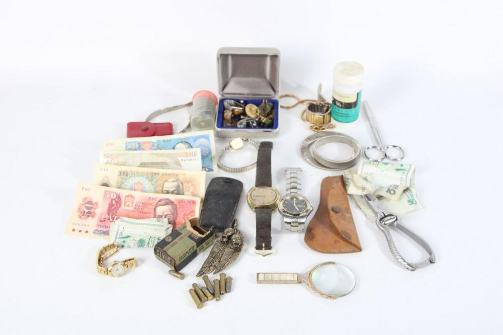 Collection Of Money Notes and Coins Together with Other Wares