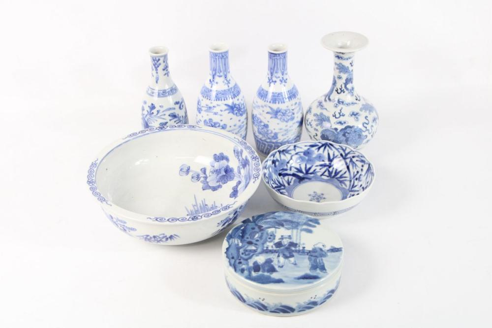 Collection of Mostly Small Chinese Blue & White Wares incl Lidded Container, Vases, & Bowls