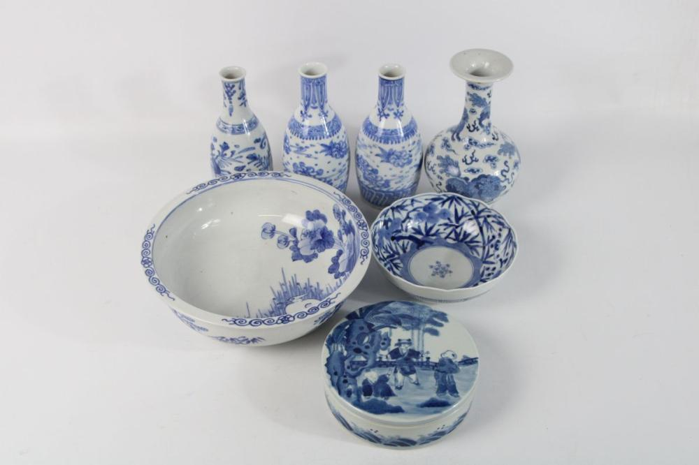 Lot 128: Collection of Mostly Small Chinese Blue & White Wares incl Lidded Container, Vases, & Bowls