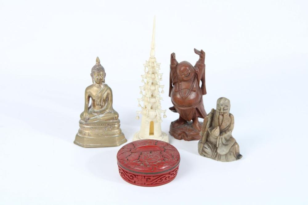 Collection of Oriental Items inc, Carved Ivory Piece, Buddha Figures ( Broken Hand to Timber Example) and Cinnabar Lidded Container