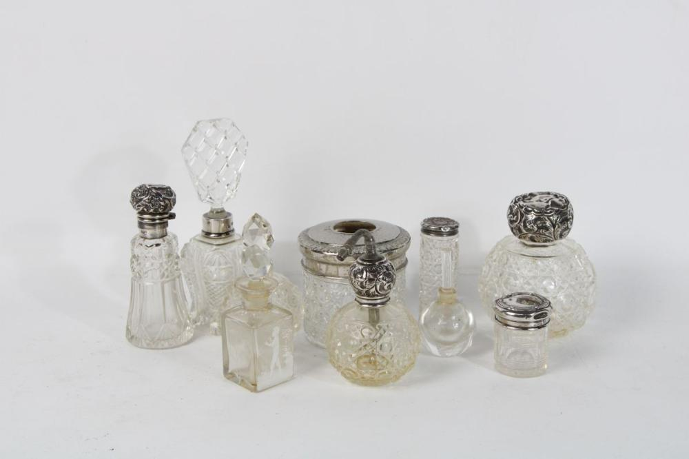 Collection of Perfume Bottles incl Orrefors & Sterling Silver Topped Examples