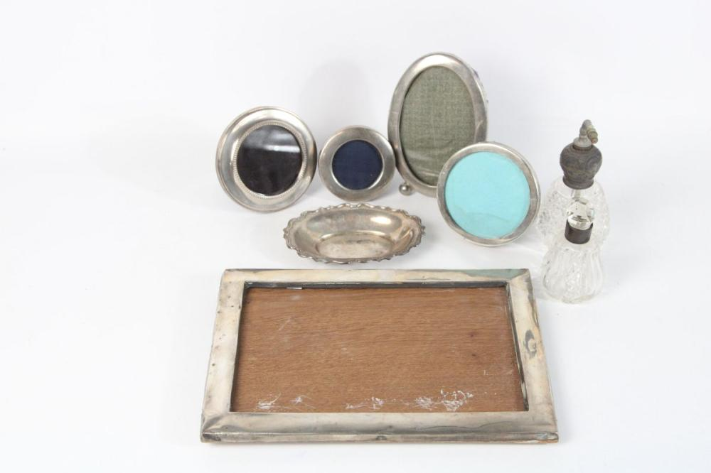 Collection of Small Silver Photo Frames Various Sizes Together with 2 Condiment Bottles