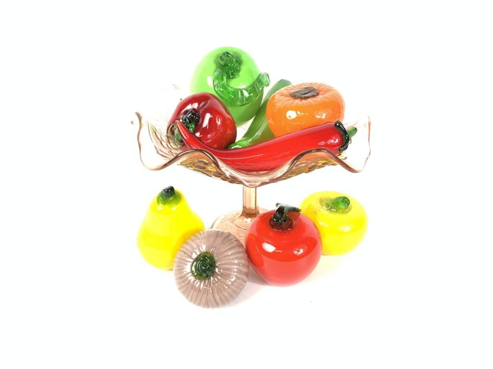 Coloured Glass Bowl Together with Art Glass Decorative Fruit