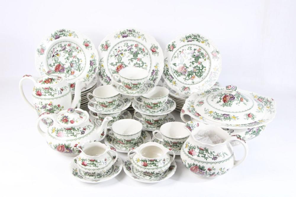 Crown Ducal 'Chinese Garden' Ironstone Dinner/Tea Service