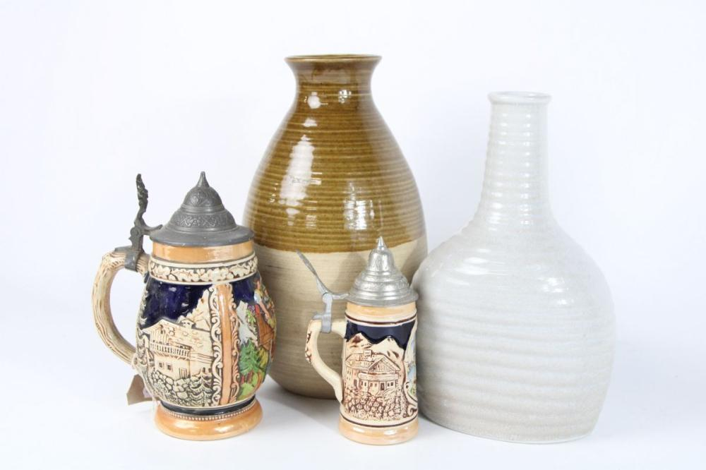 Earthenware Jar, Vase And Two Beer Steins