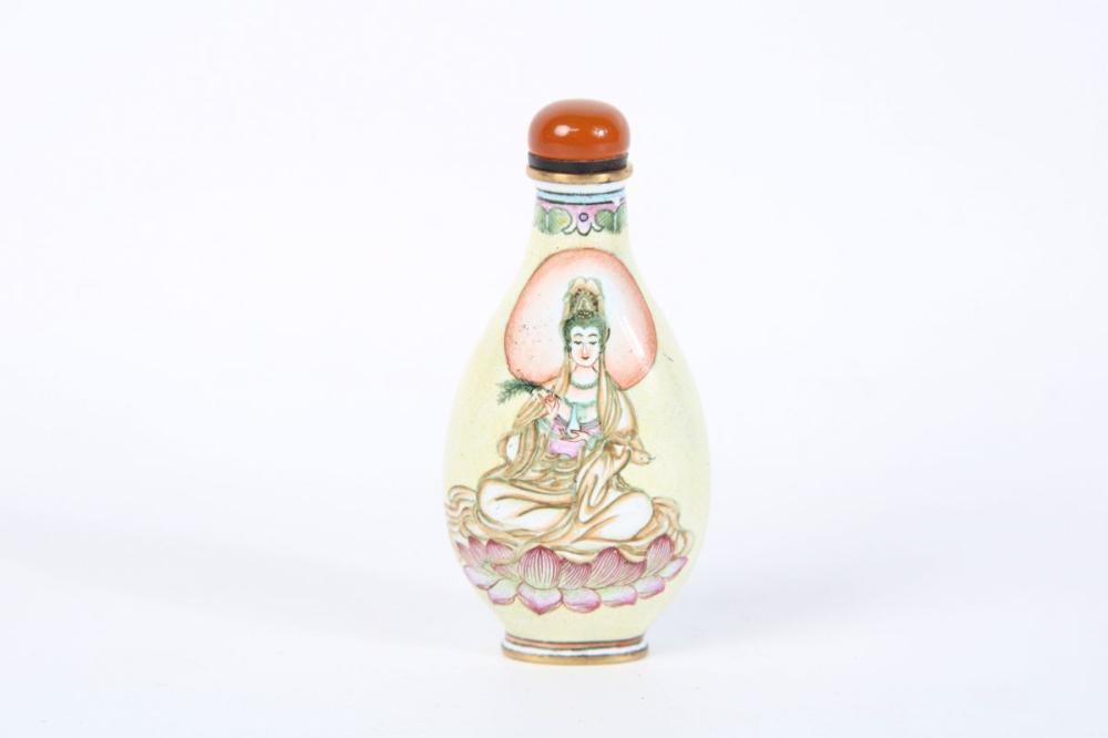 Enamel Guanyin Snuff Bottle H: 8cm