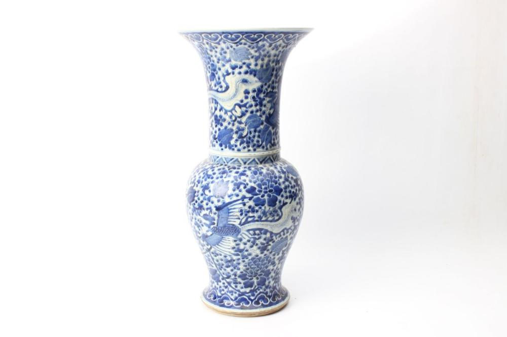Fengweizun In Blue And White Decorated With A Phoenix