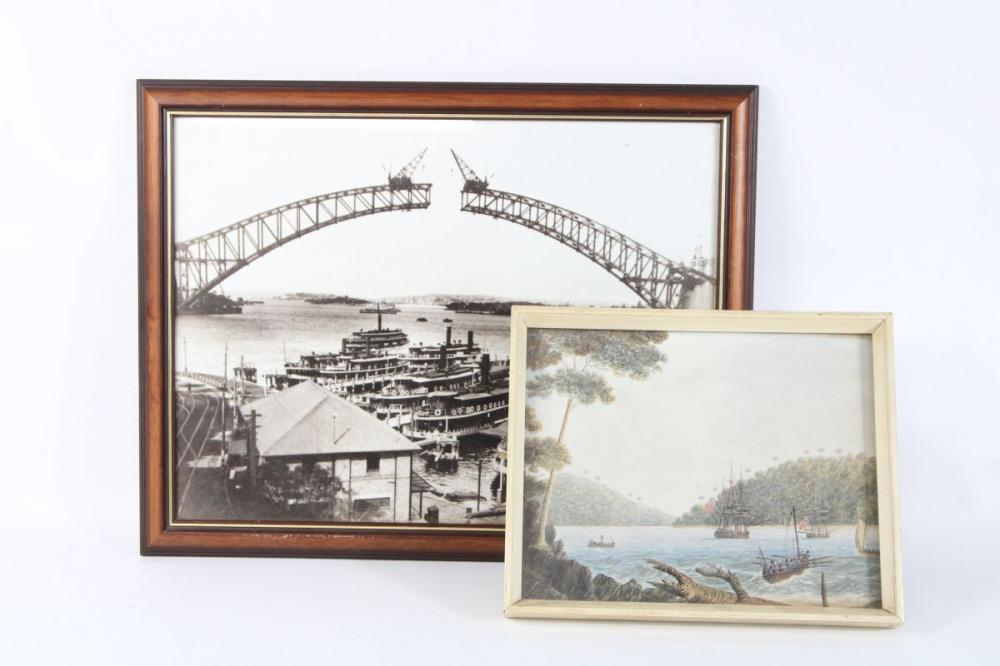 Framed Work Of First Fleet Arriving In Sydney Together With Photographic Print Of Harbour Bridge