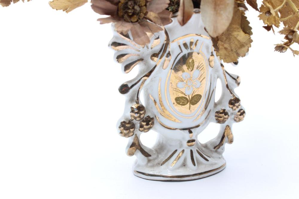 Lot 172: French Porcelain Altar Vase with Gilt Fabric Flowers