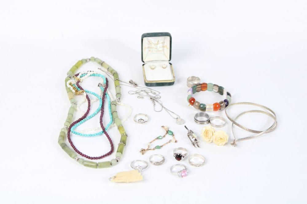 Gemstone and Silver Jewellery incl Vintage Ivory, Turquoise and Cultured Pearls