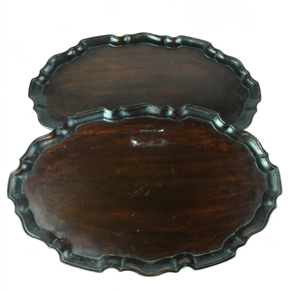 Good Pair Of Oval Mahogany Serving Trays ( L 30cm)