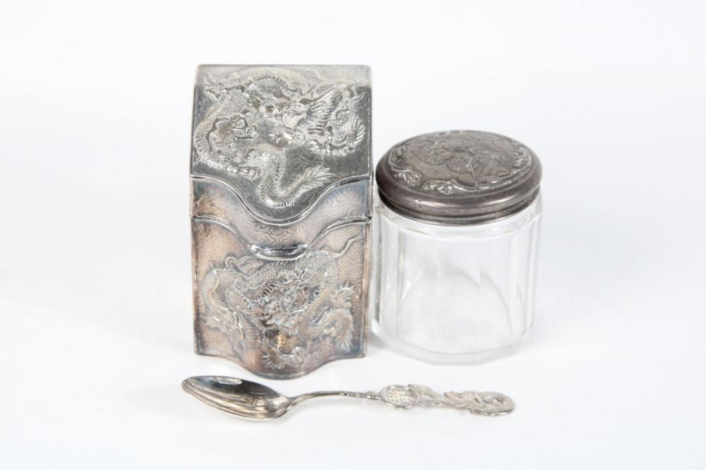 Hall Marked Sterling Silver Lidded Jar Together with A Plated Dragon Themed Example