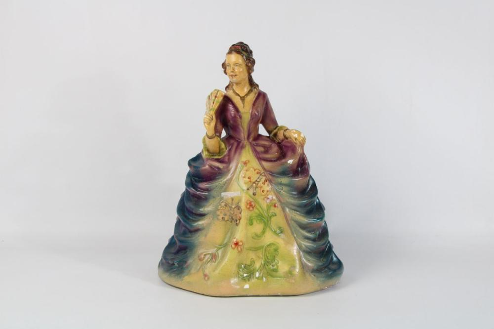 Hand Painted Figurine Of An Elegant Lady H: 34cm
