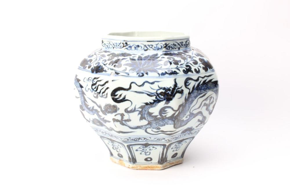 Hexagonal Blue And White Dragon Pot