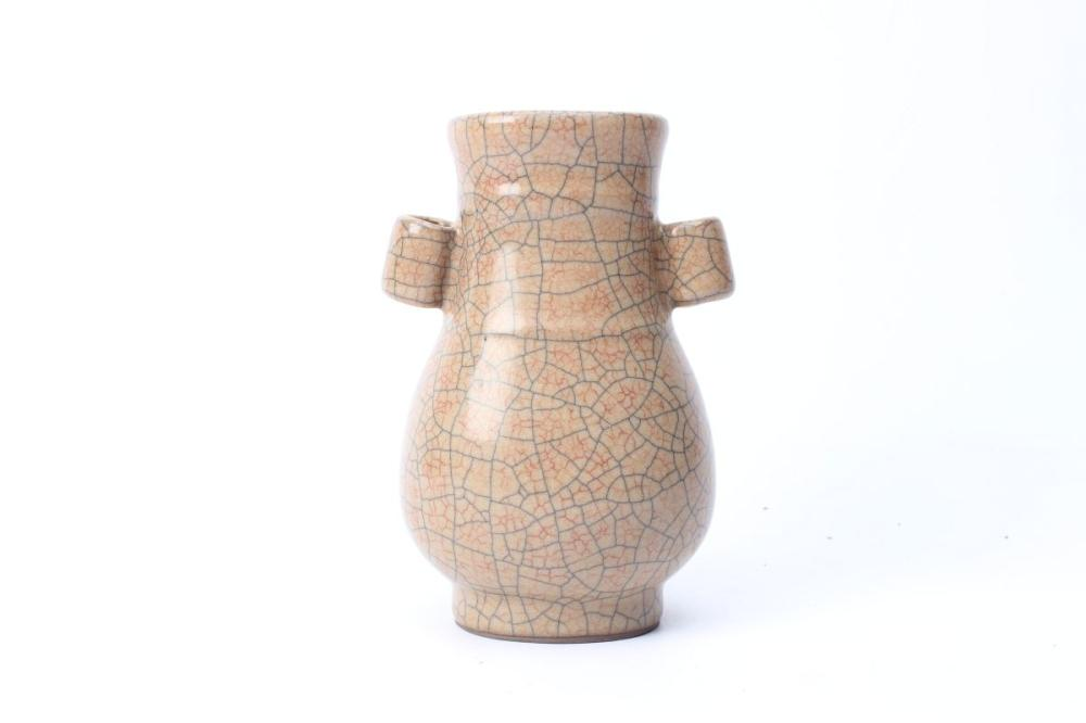 Hu Brown Crackle Glaze Vase H:14cm