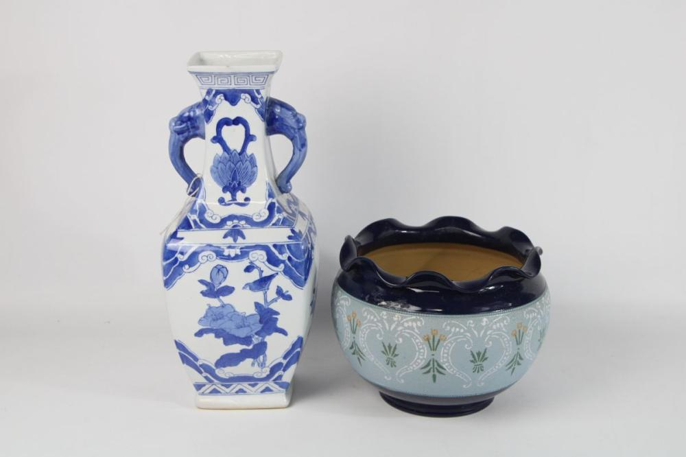 Langley Jardiniere And A Blue And White Vase