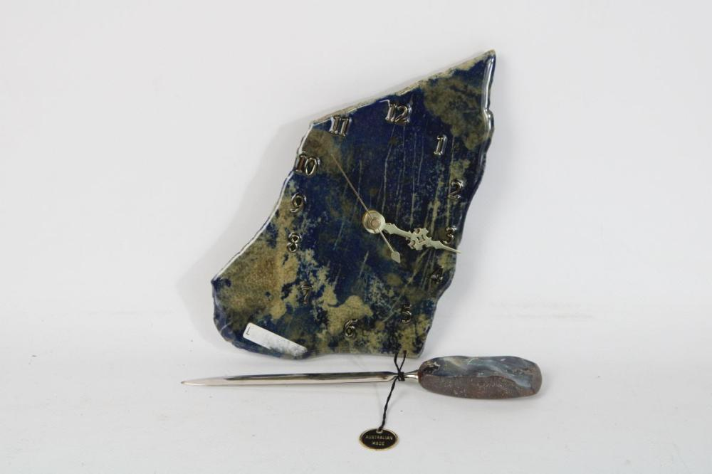 Lapis Lazuli Clock Together with A Qld Opal Boulder Handle Letter Opener