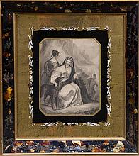 The Queen in the Scottish Highlands, Antique engraving in tortoise shell frame, 23 x 17cm