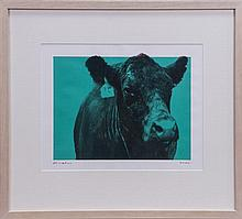 S.S. Hunt, Digital print of cow in green pixel, 23 x 34cm