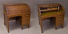 A vintage Australian single pedestal 3 drawer Oak Roll Top Desk. The interior fitted with a light, pigeon holes and a drawer. Maker:...