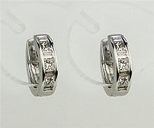 Pair of 9ct white gold hoop earrings