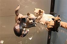 4 Cat Figures incl Royal Doulton Lladro, one chipped