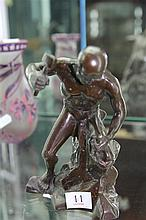 Artist unknown - Man Carving His Own Image, bronze, 17 x 11.5cm, initialled in base AV